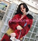 100%REAL FOX FUR Women Colorful Long Thicken Coats Jackets Parka Trench Outwear