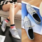 Ladies Brogue Wing Up British Oxford Pointed Toe Lace Up Block Heels Shoes New