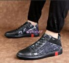 Hot Sale Men's Leather Lace Up Printed Fashion Sneakers Sport Board Shoes Hot sz