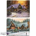Premier Christmas Vintage Car Winter Snow Scene Lit Light Canvas Wall Decoration