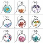 Fashion Heart Natural Real Dried Flower Glass Pendant Necklace Women Jewelry New