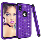 For Apple iPhone X 10 Luxury Dual Layer Hybrid Crystal Diamond Bling Case Cover