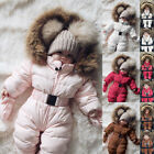 Внешний вид - Toddler Baby Boy Girl Winter Romper Jacket Hooded Jumpsuit Thick Coat Outfit New