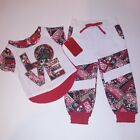 Apple Bottoms Infant Outfit 2 Piece Set Red White T-Shirt Joggers