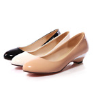 Womens Bright Shoes Patent Leather Low wedge Heel Round Toe Pumps Slip on Loafer