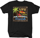 Life is Better at the Beach Palm Tree Red Chair Umbrella Waves T-shirt
