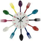 New Stainless Steel Kitchen Wall Clock Spoon Fork Quartz Wall Mounted Clocks RB