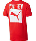 PUMA ARCHIVE LOGO BOX T-SHIRT HEATHER RED WHITE MENS ATHLETIC TEE BASIC TOP NWT image