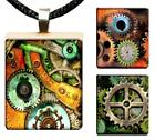 Steampunk Gears & Cogs Scrabble Tile Pendant Handcrafted Charm