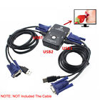 2Ports USB 2.0 VGA KVM Switch Box For Mouse Keyboard Monitor Sharing Computer PC