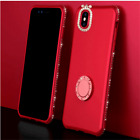 iPhone Xs Max Xr X 8 Luxury Bling Diamond Ring Holder Stand Phone Case Cover