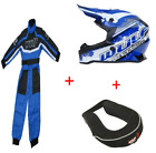 New Wulfsport Kids Motocross Black Helmet and Blue Suit neck roll Bundle Youth