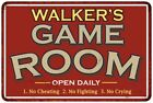 WALKERS Game Room Personalized Sign Vintage Look Metal Wall 108120001464