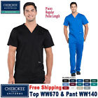Cherokee Scrubs Set REVOLUTION Men's V-Neck Top Pant WW670/WW140 Regular/Petite