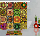 72in Long Abstract Mandala Floral Waterproof Fabric Shower Curtain Liner & Hooks
