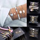 Fashion Women Jewelry Set Rope Natural Stone Crystal Chain Alloy Bracelets Gift image