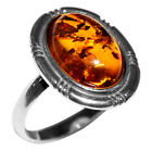 3.4g Authentic Baltic Amber 925 Sterling Silver Ring Jewelry N-A7079
