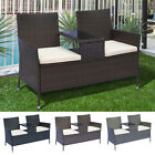 2 Seater Loveseat Garden Patio Tea Table Outdoor Furniture Rattan Wicker