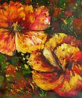 Hibiscus Yellow Red Full Bloom Flowers Painted Canvas Art Oil Painting