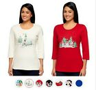 NEW QUACKER FACTORY All is Bright Holiday Bling 3/4 Sleeve T-shirt  290204B-RM