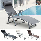Sun Lounger Recliner Pillow Foldable Garden 5 Levels Textilene 4 Colors Patio