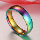 Hematite Titanium Steel Colorful Rainbow Rings Engagement Wedding Jewelry Gift image
