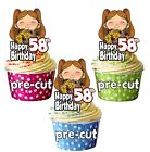 PRECUT Girl With Bouquet Flowers Cup Cake Toppers Birthday Decorations ANY AGE