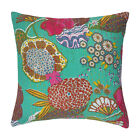Square Cushion Cover Kantha Embroidered Paisley Pillow Case Sofa Throws Indian