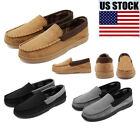 Mens Moccasins Suede Loafers Slip On Flats Lazy Peas Driving Soft Warm US Stock