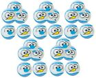 """Snowball Holiday Dog Toys Blue Tennis Ball Assorted Funny Faces 2.5"""" Bulk Packs"""