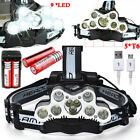 Adjustable 100000LM 9XT6LED Headlamp Headlight+ USB Rechargeable Battery Charger
