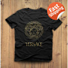Vintage Men's Versace2019 Famous T-Shirt  Black White Full Size 100% Cotton image
