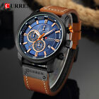 Curren 8291 Mens Leather Band Strap Wristwatch Sports Military Quartz Watch US image