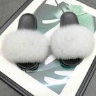 Women Real Fur Flat Shoes Fluffy Flip Flop Slippers Sliders Sandals Xmas UK Gift