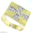 Templar Cross 0.43ctw Stone Tutone Gold Plated Mens Ring