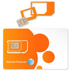AT&T Triple Cut 4G LTE Sim Card Wholesale Micro Nano Standard/Regular 3-in-1