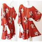 NEW Rust Floral Slit Open Batwing 3/4 Sleeve Cold Shoulder Bohemian Casual Dress
