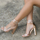 Women Ladies High Block Heels Ankle Strappy Peep Toe Sandals Party Pumps Shoes