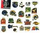 Rams Vintage Pin Choice 7 Pins Some new on card St. Louis / Los Angeles NFL