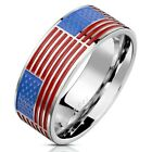 Stainless Steel USA United States American Flag Band Ring Size 8-13