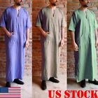 Mens Long East Kaftan Saudi Arab Islamic Clothing Short Sleeve Thobe Robe