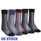 US _Men's 3 Pairs Sheer Ultra thin Breathable Silk Summer Dress Business Socks