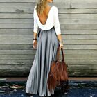 Vintage Women Stretch Boho Flare Pleated Party Dress Maxi Long Beach Skirts Lot