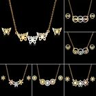Fashion Stainless Steel Women Gold Necklace Earrings Jewelry Set Holiday Gift