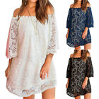 Party Women Off Shoulder Solid Color Lace 3/4 Sleeve Loose Mini Dress Sanwood