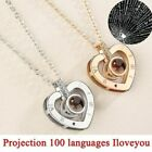 """Silver Gold """"i Love You"""" In 100 Languages Light Projection Pendant Necklace Gift"""