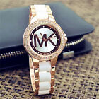 Fashion women men diamond crystal ceramics stainless steel wrist quartz watches image