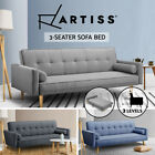 Artiss Sofa Bed Lounge Futon Couch 3 Seater Beds Fabric Recliner Wood Blue Grey