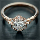 Rose Gold Filled Rings Jewelry White Sapphire Rings Engagement Jewelry Size 6-10 image