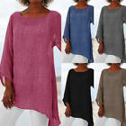 Plus Size Women Solid Linen O-Neck Long Sleeve Irregular Tunic Top T-Shirt Code